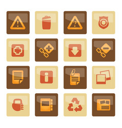 Web site and computer icons over brown background vector