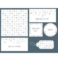 Wedding set hearts design seamless pattern tags vector image