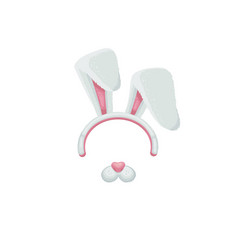 white and pink cartoon bunny ears and nose funny vector image