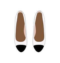Woman retro shoes white leather pumps with black vector
