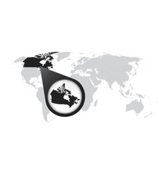 World map with zoom on canada map in loupe in vector