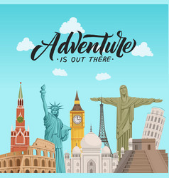 world sights background with vector image
