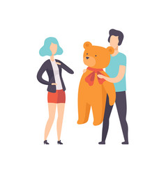young man giving big teddy bear to girlfriend vector image