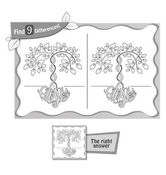 find 9 differences game family tree vector image