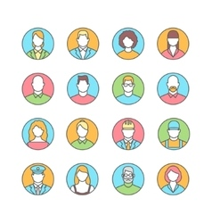Line flat icons of people avatars profession vector image vector image