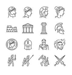 roman empire line icon set vector image