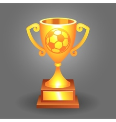 Soccer ball trophy gold cup bacground vector image vector image
