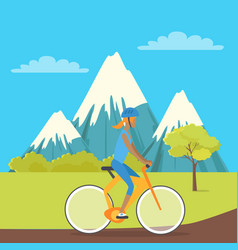 young girl isolated on bike riding near mountains vector image