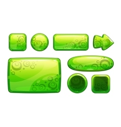 Green glossy game assets set vector image vector image