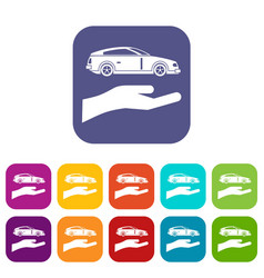 Hand and car icons set vector
