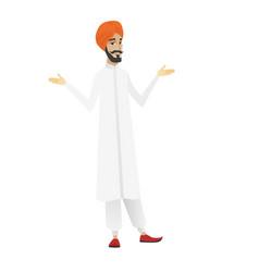 Hindu confused businessman with spread arms vector