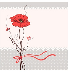red poppy floral card background vector image vector image