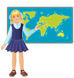 Schoolgirl at map of the world eps10 vector image