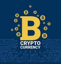 golden bitcoin on circuit blue background crypto vector image vector image