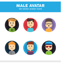 male avatar icons vector image