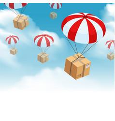 parachute parcel delivery composition vector image