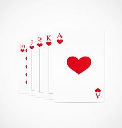 royal straight flush hearts vector image vector image