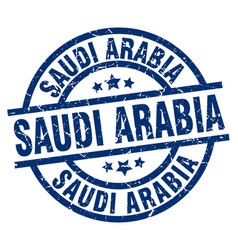 saudi arabia blue round grunge stamp vector image vector image
