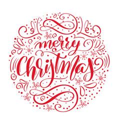 merry christmas handwritten text hand drawn vector image vector image