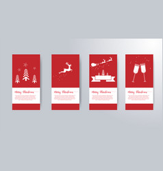 red merry christmas greeting card set vector image