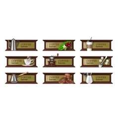 Set coffee banners badges stickers vector image vector image