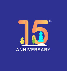15 years anniversary celebration logotype vector image