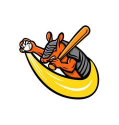 armadillo baseball mascot vector image