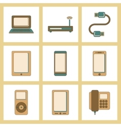 assembly flat icon Wi fi modem mobile phone gadget vector image