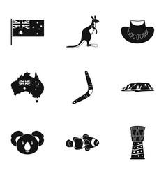 australian symbols icon set simple style vector image