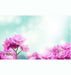 beautiful flowers blooming on blue light bokeh vector image