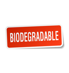 Biodegradable square sticker on white vector