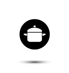Black and white saucepan icon vector