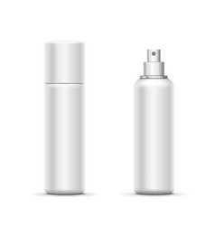 Blank metal bottle with sprayer cap deodorant vector