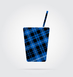Blue black tartan isolated icon drink with straw vector