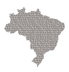 brazil map abstract schematic from black ones and vector image