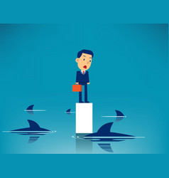 business man and surrounded shark concept vector image