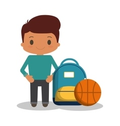 Cartoon boy student blue bag ball basketball vector