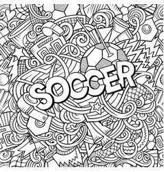Cartoon cute doodles hand drawn soccer vector