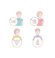 chart microphone and atm service icons rocket vector image