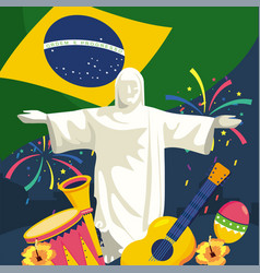 christ redeemer with traditional instruments and vector image
