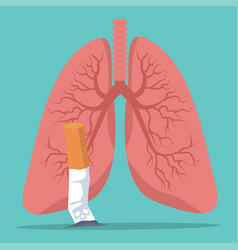 Cigarettes smoking with lungs concept vector