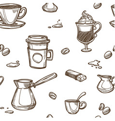 coffee cups and bean pattern background vector image