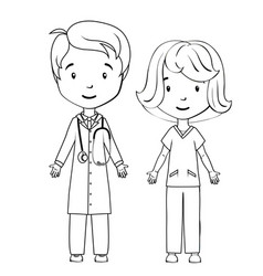 Coloring book cartoon doctor and nurse vector