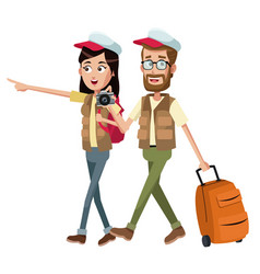 Couple traveler with vest case vector