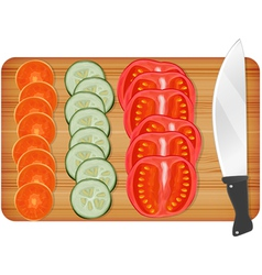 Cutting wooden board with vegetables vector