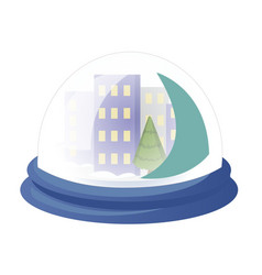 decorative globe with winter city glass ball with vector image