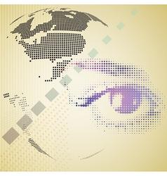 Digital composite of halftone human eye and vector