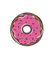 donut with pink glaze donut icon vector image