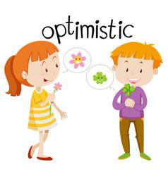 English vocabulary word optimistic vector