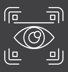 Eye scan line icon security and iris scanner vector
